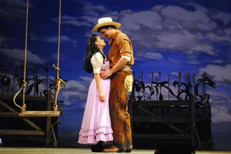 """Diane Phelan and Jarid Faubel in Berkshire Theatre Group's """"Oklahoma!"""" this summer at the Colonial Theatre in Pittsfield."""